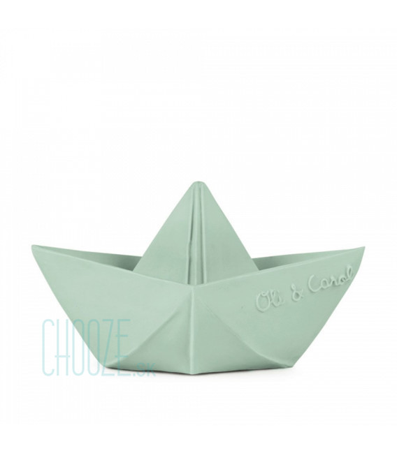 Kaučuková hračka do vody Origami Boat - Mint