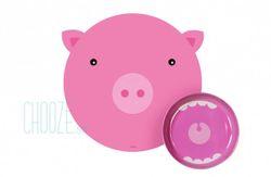Detský jedálenský set Hungry mat - Pig