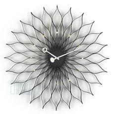 Nástenné hodiny Sunflower clock - Black ash