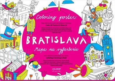Omaľovánka pre deti - Mapa Bratislava