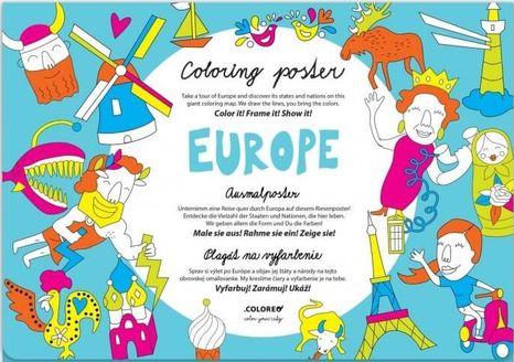 Omaľovánka pre deti - Mapa Európa