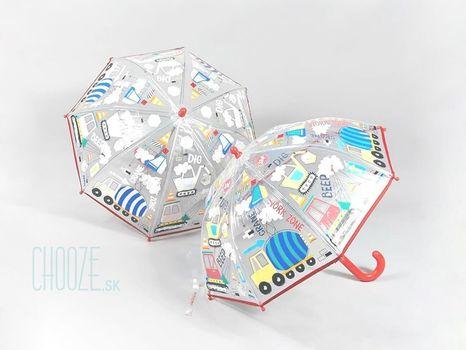 Detský priehľadný dáždnik meniaci farbu Floss & Rock - Construction