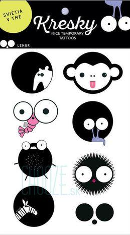Dočasné svietiace tetovačky Kresky - Lemur