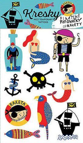 Dočasné tetovačky Kresky - Pirátske