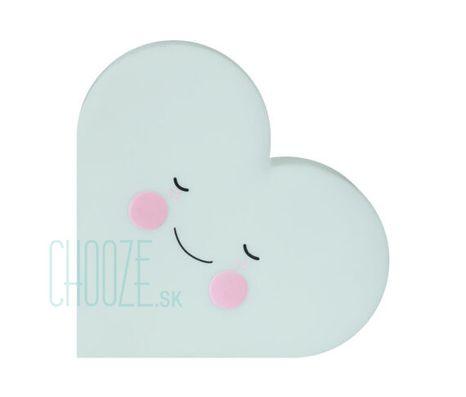 Detská nočná LED lampa Heart - Mint srdiečko