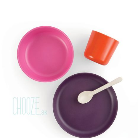 Detský bambusový jedálenský set Ekobo oranžová, ružová, fialová