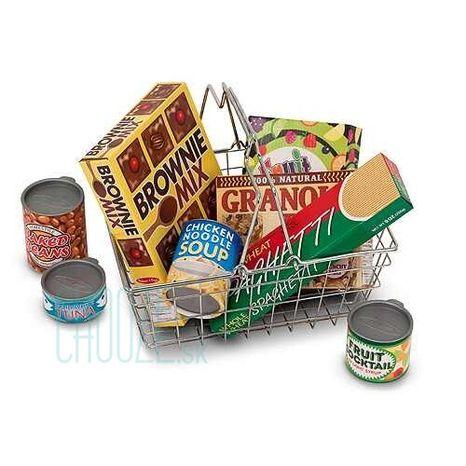 Melissa & Doug Detský kovový nákupný košík s potravinami