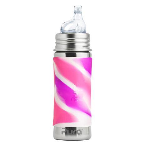 Pura nerezová fľaša s náustkom 325ml Ružovobiela