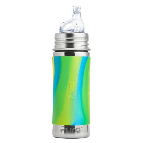 Pura nerezová fľaša s náustkom 325ml Zelenomodrá