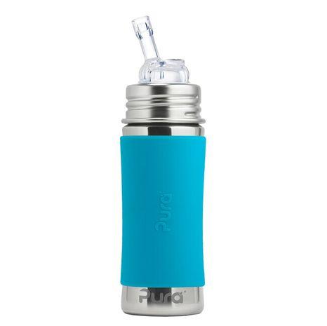 Pura nerezová fľaša so slamkou 325ml Modrá