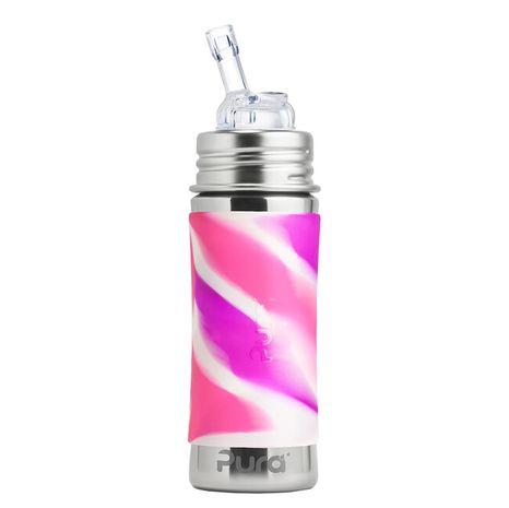 Pura nerezová fľaša so slamkou 325ml Ružovobiela