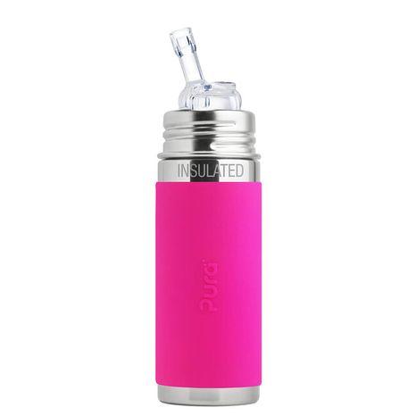 Pura TERMO nerezová fľaša so slamkou 260ml Ružová