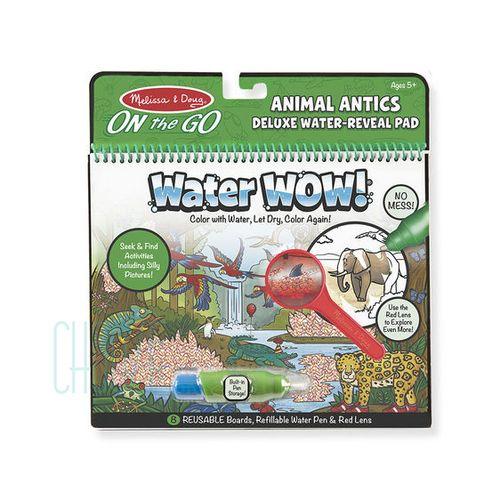 Znovupoužiteľné hľadacie vodové omaľovanky Water Wow Deluxe: Animal Antics